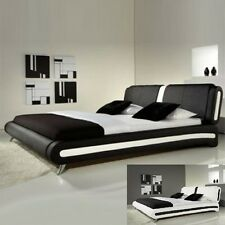 Designer Faux Leather bed 4FT6 Double 5FT Kingsize Black White With Mattress