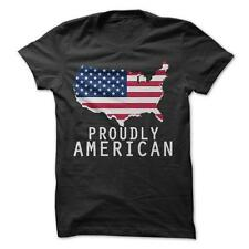 Proudly American - T-Shirt Short Sleeve 100% Cotton Fourth Of July Patriotic