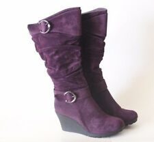 Women's Tall Purple Wedge Heel Faux Suede Slouch Cute Boot Buckle Fashion Casual