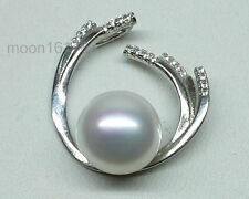 Golden Pink White 11mm South Sea Pearl Pendant Sterling Silver Valentines Gift
