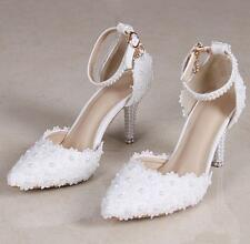 Womens Pearls Pointed Toe Ankle Strap Lace Shoes High Heel Wedding Stilettos