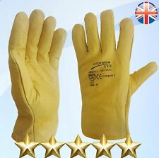20 Pairs Fleece Cotton Lined Leather Lorry Drivers Work Gloves DIY Quality