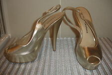 CHINESE LAUNDRY SHOES GOLD LEATHER PLATFORM STILLETTO USA 8 (UK 5.5)