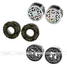 6pc Steel Abalone Shell Lotus Life Tree Ear Gauges Tunnels Ear Plugs Stretcher