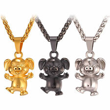 U7 Stainless Steel Happy Pig Piggy Pendant Necklace Gold Plated Animal Jewelry