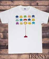 Mens White Tee Gaming Invaders Explosion-Retro Space Invaders Old School TS625