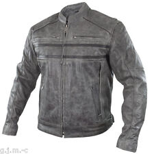 Xelement BXU1993 S Sigma Mens Distressed Grey Cowhide Leather Motorcycle Jacket