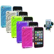 TPU Zebra Rubber Skin Case Cover+Windshield Mount for iPod Touch 4th Gen 4G 4