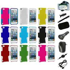 Hybrid Mesh Hard/Soft Skin Case Cover+8X Accessory for iPod Touch 5th Gen 5G 5