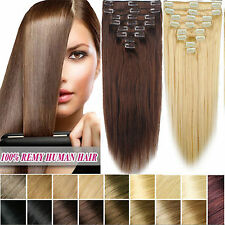 12PCS 250g Full Head Clip In Remy Hair Extensions 100%Real Human Hair Any Colors