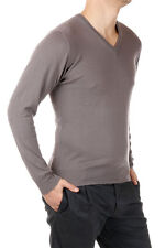 DOWNSHIFTING New Men grey V Neck Sweater Wool Extrafine Cashmere Pullover NWT