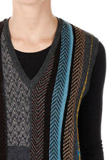 ETRO New women brown Printed Sleeveless Sweater Wool V Neck gilet Made Italy