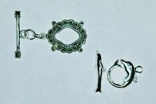 1 925 Sterling Silver OVAL LARGE MARCASITE Toggle Clasp & DoLPHiN Design Toggle
