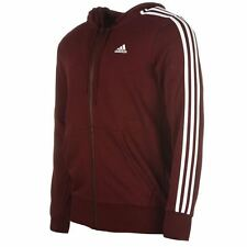 adidas Essentials 3 Stripe Logo Full Zip Hoody Mens Maroon Hoodie Sportswear Top
