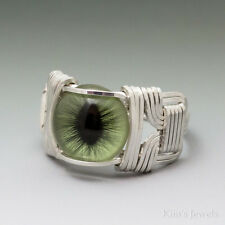 Green Cat Eye Glass Eyeball Sterling Silver Wire Wrapped Cabochon Ring