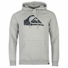 Quiksilver Check Logo Pullover Hoody Mens Grey Heather Hooded Sweatshirt Sweater