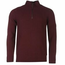 Firetrap ¼ Zip Knit Jumper Mens Burgundy Sweater Pullover Top