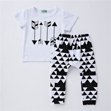 Infant Toddler Baby Boys Short Sleeve Arrow Printed T Shirt Pants Outfits Summer