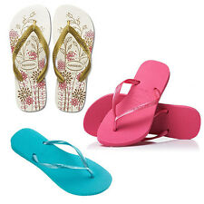HAVAIANAS Slim Pop Rose/Ocean Green Spring White Flora Womens Flip Flops Sandals
