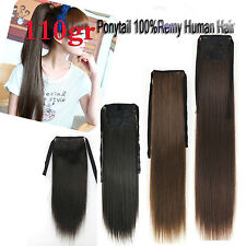 110g Extra Thick Remy Ponytail Clip In 100% Real Human Hair Extensions Full Head