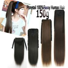 130g 150g 24''26''28'' Remy Ponytail Clip In Real Human Hair Extension Full Head