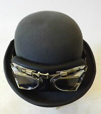 New Victorian London Steampunk Grey Best Bowler Derby Hat & Airship Goggles