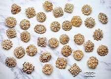 Brooch Lot 12-100 Mixed Gold Pin Wholesale Rhinestone Pearl Wedding Bouquet DIY