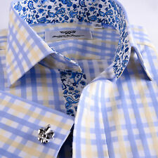 Mens Blue Royal Oxford Formal Business Dress Shirt Italian Floral Paisley Boss