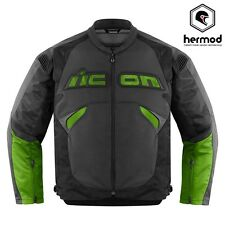 Icon Sanctuary Leather & Ballistic D3O Motorcycle Motorbike Jacket -  Green