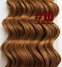 Golden Brown Deep Wavy Remy Human Hair Curly Weaving Clip In Real Hair Extension