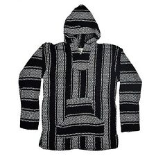 Baja Joe Hoodie Jacket Pullover Poncho Mexican Striped Woven Surfer Black NEW