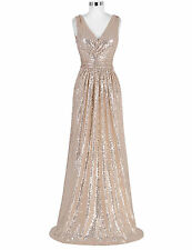 Womens V-Neck Sequined Long Bridesmaids Formal Wedding Dress Evening Prom Party