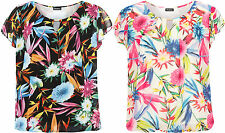Plus Womens Floral Print Keyhole Cap Sleeve Chiffon Lined Sheer Ladies Top 16-26
