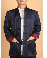 Blue and burgundy Double face Chinese men's silk/satin jacket/coat SZ: M-3XL