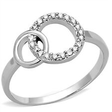 Chic CZ Circle with Circle Inlay Rhodium Plated Brass Ring Size 5 6 7 8 9 10