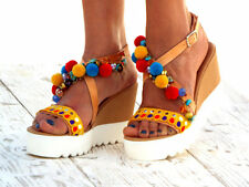 Tiffany Leather wedge Sandals, platform Heel, Pom pom sandals, Greek handmade