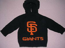 NEW! Hand Knit Baby MLB SF Giants Sweater back zipper 6 or 12 month Black Hoodie