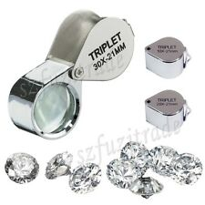 Pocket Jewellers Lens Loupe 10/20/30 X 21mm Magnifying Optical Glass Magnifier