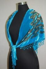Black blue red100% silk Chinese Women's Embroider Shawl/Scarf peafowl