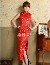100% silk Chinese women's evening long dress Cheongsam Red Sz S M L XL XXL