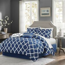 Navy Reversible Comforter & Sheet Set with Decorative Pillow, Shams & Bed Skirt