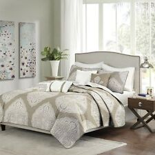6 Piece Reversible Quilted Coverlet Set Soft Taupe - Pillows and Shams Included