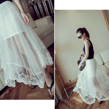 Women Gauze See Through Lady Mesh Tulle Lace Soft Casual Sweet Long Skirt Dress