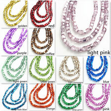 New color 100pcs 4mm Cube Square Charms Finding Loose Glass Crystal Spacer Beads