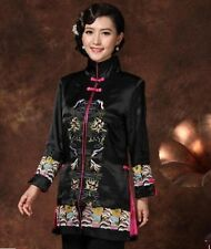 Charming Chinese Women's silk/satin embroidery jacket /coat Black Sz:M-3XL