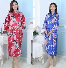 Chinese Women's silk bathrobe Kimono Robe Gown sleepwear Sz: S M L XL 2XL 3XL