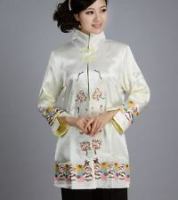 Charming Chinese Women's Silk embroidery jacket /coat white Sz 8 10 12 14 16