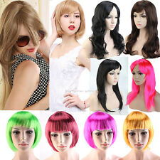 Full Wigs Long Curly Straight Cosplay Wig Costume Party Fancy Dress Black BOB 51
