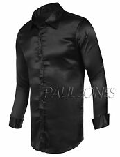 PJ New Men's Slim Shirts Fit Solid Color Long Sleeve Soft Casual Tops Blouse Hot