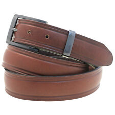 "Men's 1 1/4"" Domed Dress Belt Rich Brown Bridle Leather Buckle And Loop Set"